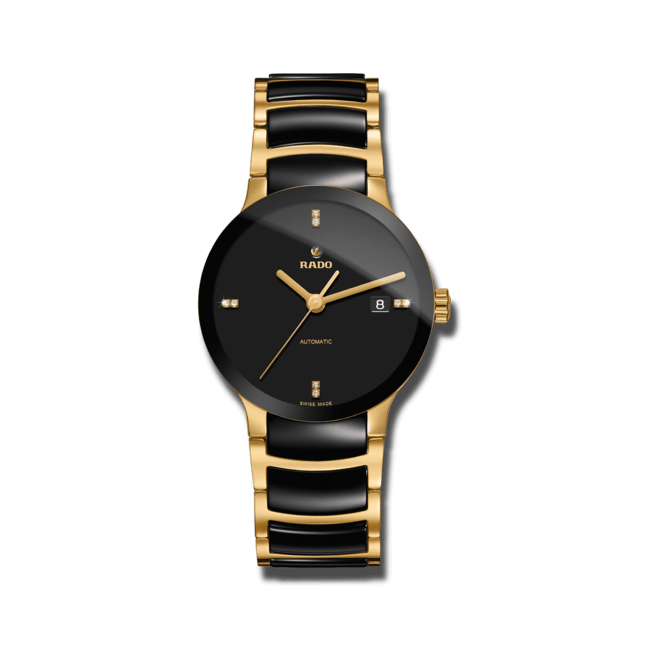 Armbanduhr Rado Centrix Diamonds L Automatik mit Diamanten, schwarzem Zifferblatt und Keramikarmband bei Brogle