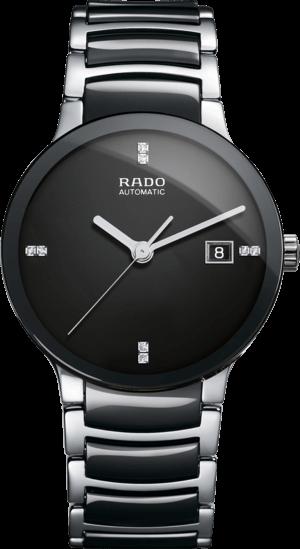 Armbanduhr Rado Centrix Diamonds L Automatik mit Diamanten, schwarzem Zifferblatt und Keramikarmband