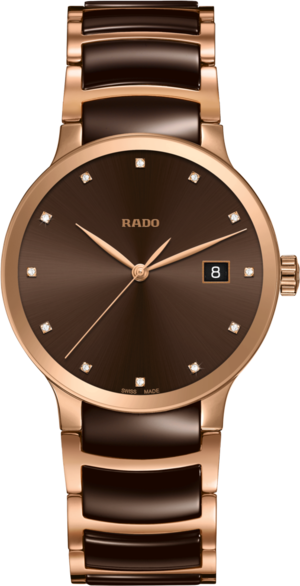 Armbanduhr Rado Centrix Diamonds L Quarz mit Diamanten, braunem Zifferblatt und Edelstahlarmband