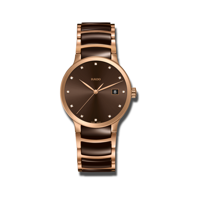 Armbanduhr Rado Centrix Diamonds L Quarz mit Diamanten, braunem Zifferblatt und Edelstahlarmband bei Brogle