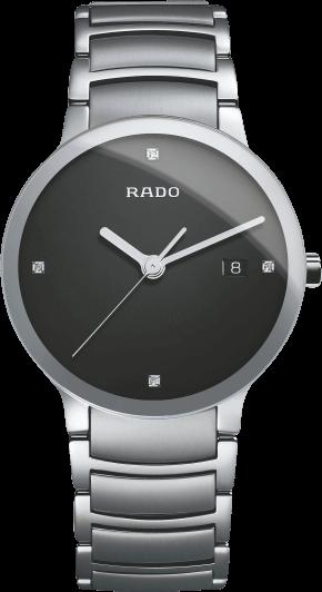 Herrenuhr Rado Centrix Diamonds L Quarz mit Diamanten, schwarzem Zifferblatt und Edelstahlarmband