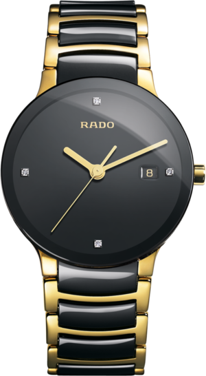 Armbanduhr Rado Centrix Diamonds L Quarz mit Diamanten, schwarzem Zifferblatt und Edelstahlarmband