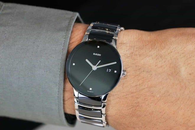 Armbanduhr Rado Centrix Diamonds L Quarz mit Diamanten, schwarzem Zifferblatt und Edelstahlarmband bei Brogle