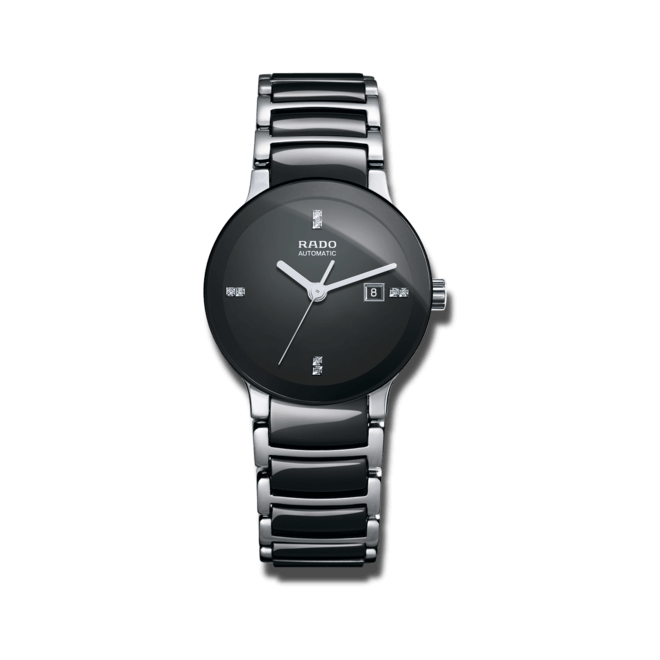 Damenuhr Rado Centrix Diamonds S Automatik mit Diamanten, schwarzem Zifferblatt und Keramikarmband bei Brogle