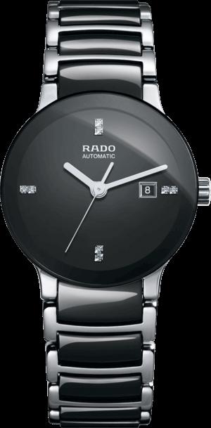 Damenuhr Rado Centrix Diamonds S Automatik mit Diamanten, schwarzem Zifferblatt und Keramikarmband