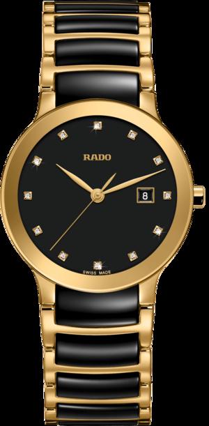 Damenuhr Rado Centrix Diamonds S Quarz mit Diamanten, schwarzem Zifferblatt und Edelstahlarmband