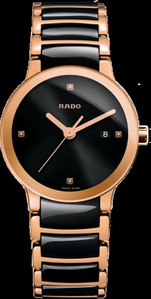 Damenuhr Rado Centrix Diamonds S Quarz mit Diamanten, schwarzem Zifferblatt und Keramikarmband