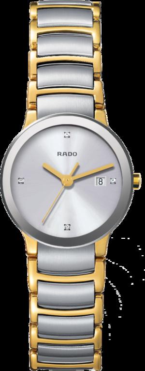 Damenuhr Rado Centrix Diamonds S Quarz mit Diamanten, silberfarbenem Zifferblatt und Edelstahlarmband