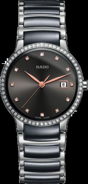 Damenuhr Rado Centrix Diamonds S Quarz mit Diamanten, grauem Zifferblatt und Edelstahlarmband