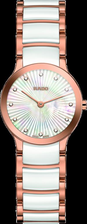 Damenuhr Rado Centrix Diamonds XS Quarz mit Diamanten, perlmuttfarbenem Zifferblatt und Edelstahlarmband
