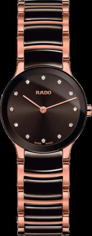 Damenuhr Rado Centrix Diamonds XS Quarz mit Diamanten, braunem Zifferblatt und Edelstahlarmband