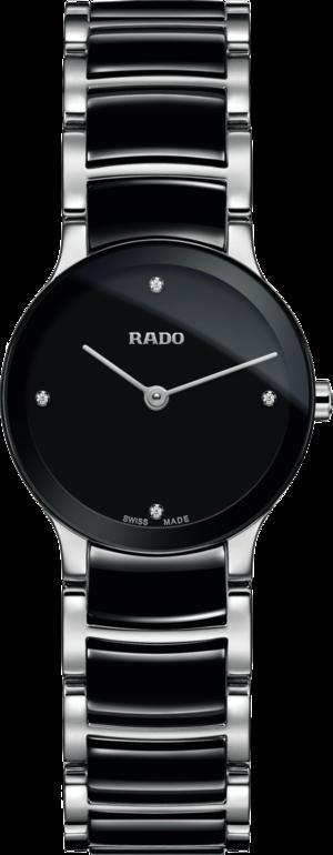 Damenuhr Rado Centrix Diamonds XS Quarz mit Diamanten, schwarzem Zifferblatt und Edelstahlarmband
