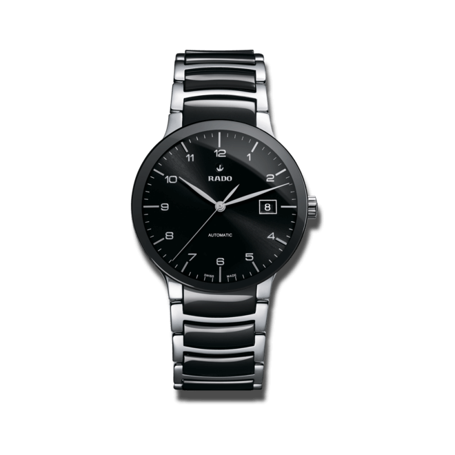 Armbanduhr Rado Centrix L Automatik mit schwarzem Zifferblatt und Edelstahlarmband bei Brogle