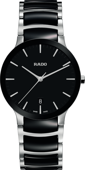 Armbanduhr Rado Centrix L Quarz mit schwarzem Zifferblatt und Edelstahlarmband
