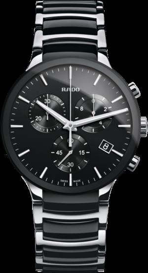 Herrenuhr Rado Centrix XL Quarz Chronograph mit schwarzem Zifferblatt und Edelstahlarmband