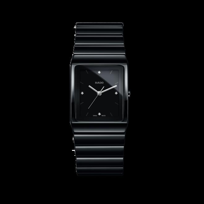 Armbanduhr Rado Ceramica Diamonds L Quarz mit Diamanten, schwarzem Zifferblatt und Keramikarmband bei Brogle