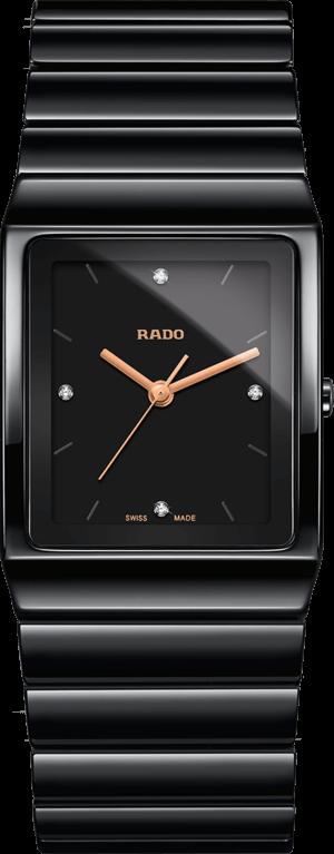 Armbanduhr Rado Ceramica Diamonds L Quarz mit Diamanten, schwarzem Zifferblatt und Keramikarmband