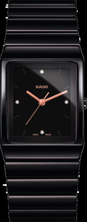Armbanduhr Rado Ceramica Diamonds L Quarz mit Diamanten, braunem Zifferblatt und Keramikarmband