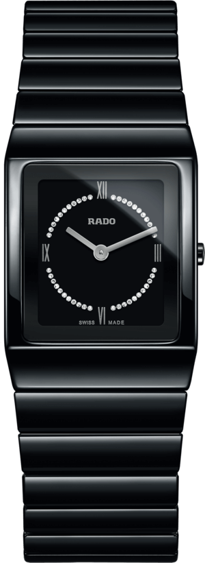 Damenuhr Rado Ceramica Diamonds S Quarz mit Diamanten, schwarzem Zifferblatt und Keramikarmband
