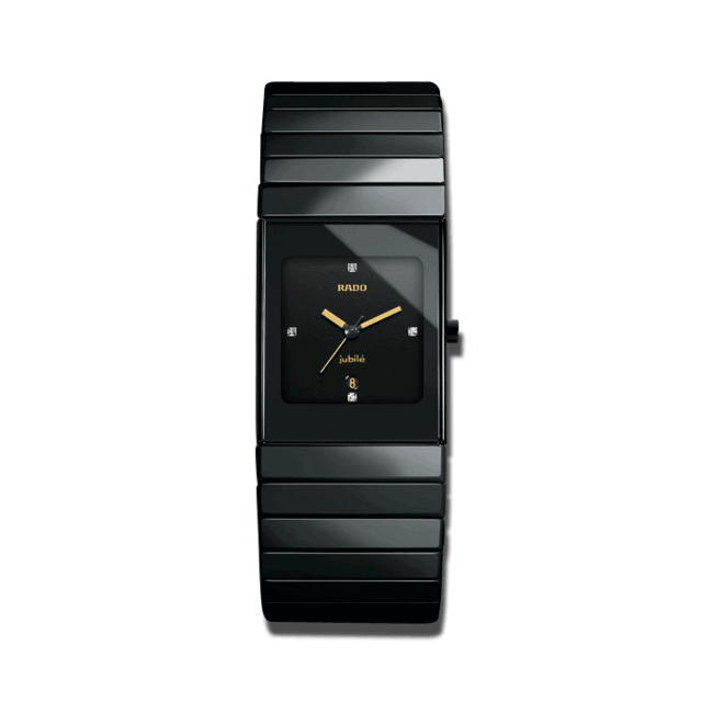 Armbanduhr Rado Ceramica Jubilé L Quartz mit Diamanten, schwarzem Zifferblatt und Keramikarmband