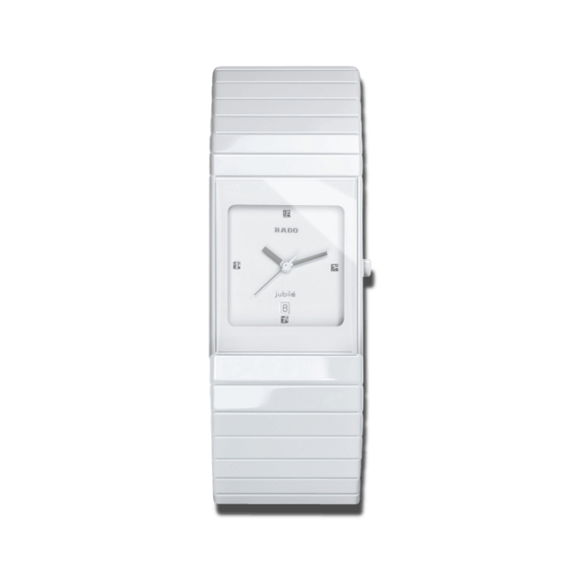 Armbanduhr Rado Ceramica Jubilé L Quartz mit Diamanten, weißem Zifferblatt und Keramikarmband