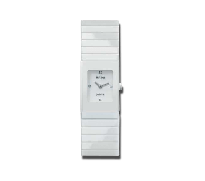 Damenuhr Rado Ceramica Jubilé XS Quartz mit Diamanten, weißem Zifferblatt und Keramikarmband