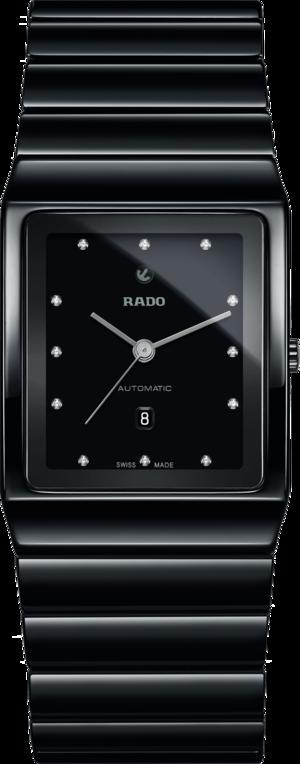 Herrenuhr Rado Ceramica L Automatik mit Diamanten, schwarzem Zifferblatt und Keramikarmband