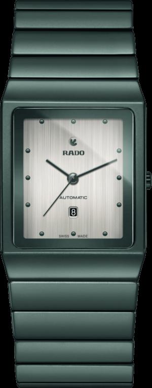 Herrenuhr Rado Ceramica L Automatik mit silberfarbenem Zifferblatt und Keramikarmband