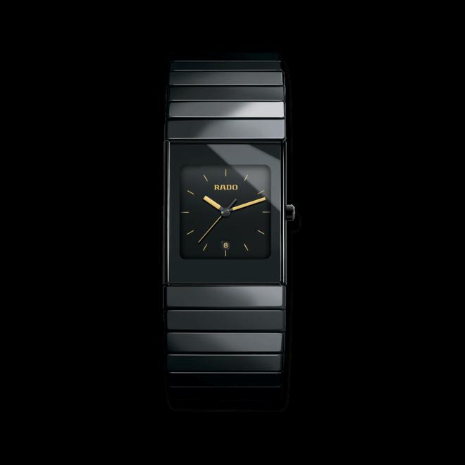 Armbanduhr Rado Ceramica L Quartz mit schwarzem Zifferblatt und Keramikarmband