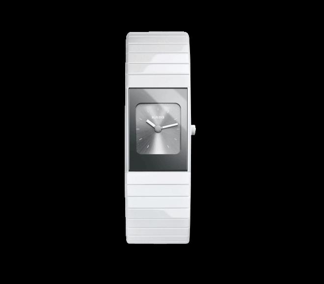 Armbanduhr Rado Ceramica L Quartz mit grauem Zifferblatt und Keramikarmband