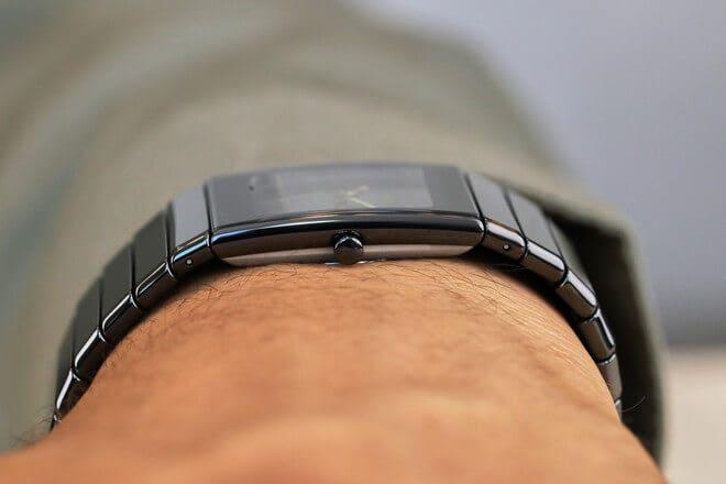 Armbanduhr Rado Ceramica M Quarz mit schwarzem Zifferblatt und Keramikarmband