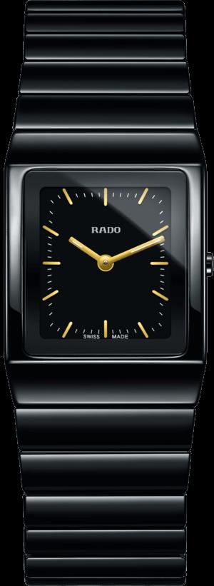 Damenuhr Rado Ceramica S Quarz mit schwarzem Zifferblatt und Keramikarmband