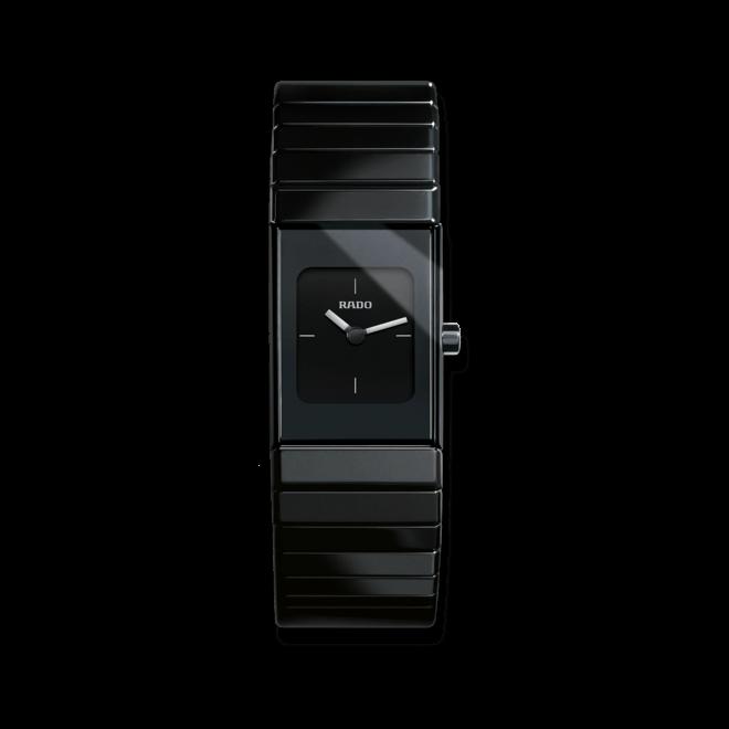 Damenuhr Rado Ceramica XS Quarz mit schwarzem Zifferblatt und Keramikarmband