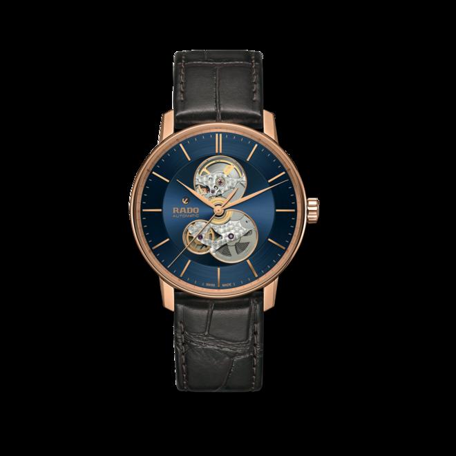 Herrenuhr Rado Coupole Classic Automatic mit blauem Zifferblatt und Armband aus Kalbsleder mit Krokodilprägung bei Brogle