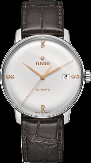 Herrenuhr Rado Coupole Classic Diamonds L Automatik mit Diamanten, weißem Zifferblatt und Kalbsleder-Armband