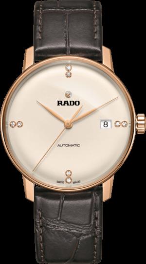 Herrenuhr Rado Coupole Classic Diamonds L Automatik mit Diamanten, champagnerfarbenem Zifferblatt und Kalbsleder-Armband