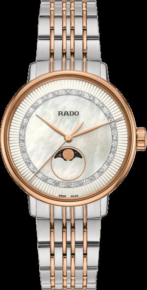 Damenuhr Rado Coupole Classic Diamonds Mondphase Quarz mit Diamanten, perlmuttfarbenem Zifferblatt und Edelstahlarmband