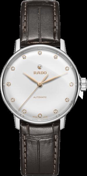 Damenuhr Rado Coupole Classic Diamonds S Automatik mit Diamanten, weißem Zifferblatt und Kalbsleder-Armband