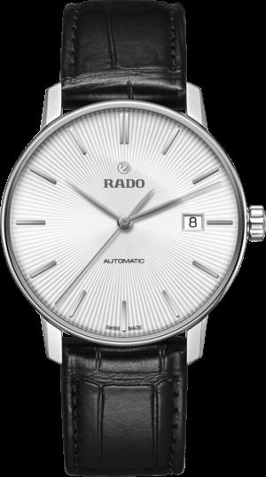 Herrenuhr Rado Coupole Classic L Automatik mit silberfarbenem Zifferblatt und Armband aus Kalbsleder mit Krokodilprägung