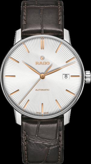 Herrenuhr Rado Coupole Classic L Automatik mit weißem Zifferblatt und Armband aus Kalbsleder mit Krokodilprägung