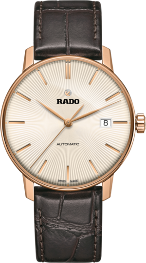 Herrenuhr Rado Coupole Classic L Automatik mit champagnerfarbenem Zifferblatt und Armband aus Kalbsleder mit Krokodilprägung