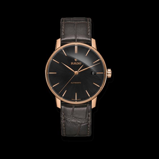 Herrenuhr Rado Coupole Classic L Automatik mit schwarzem Zifferblatt und Kalbsleder-Armband bei Brogle