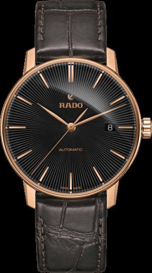 Herrenuhr Rado Coupole Classic L Automatik mit schwarzem Zifferblatt und Kalbsleder-Armband