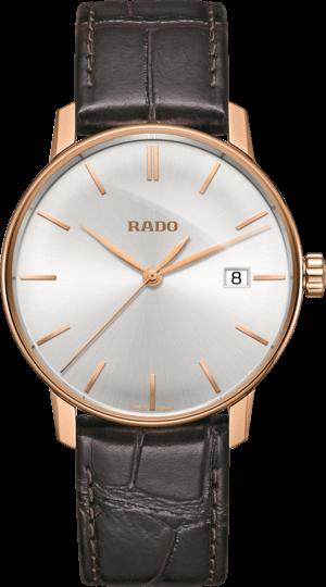 Herrenuhr Rado Coupole Classic L Quarz mit silberfarbenem Zifferblatt und Armband aus Kalbsleder mit Krokodilprägung