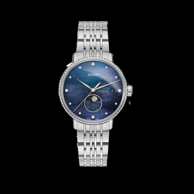 Damenuhr Rado Coupole Classic Mondphase Quarz mit Diamanten, blauem Zifferblatt und Edelstahlarmband bei Brogle