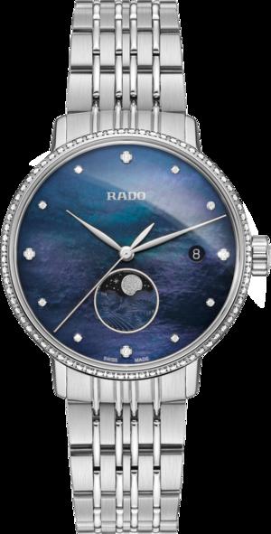 Damenuhr Rado Coupole Classic Mondphase Quarz mit Diamanten, blauem Zifferblatt und Edelstahlarmband