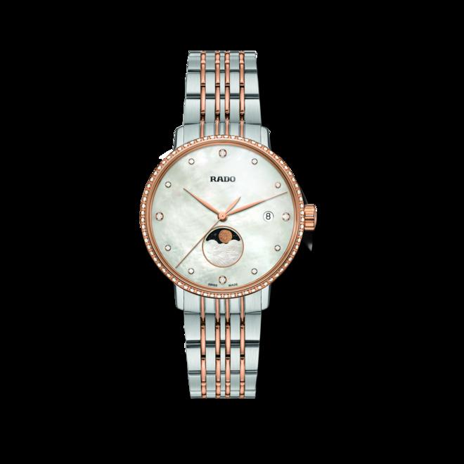 Damenuhr Rado Coupole Classic Mondphase Quarz mit Diamanten, perlmuttfarbenem Zifferblatt und Edelstahlarmband bei Brogle