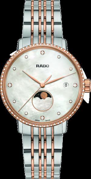 Damenuhr Rado Coupole Classic Mondphase Quarz mit Diamanten, perlmuttfarbenem Zifferblatt und Edelstahlarmband