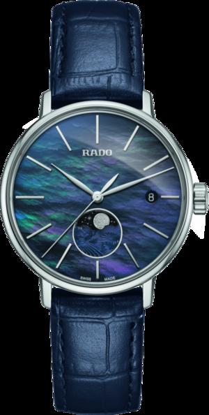 Damenuhr Rado Coupole Classic Mondphase Quarz mit blauem Zifferblatt und Armband aus Kalbsleder mit Krokodilprägung