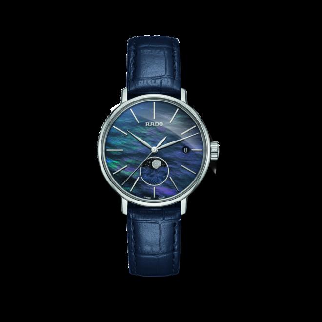 Damenuhr Rado Coupole Classic Mondphase Quarz mit blauem Zifferblatt und Armband aus Kalbsleder mit Krokodilprägung bei Brogle